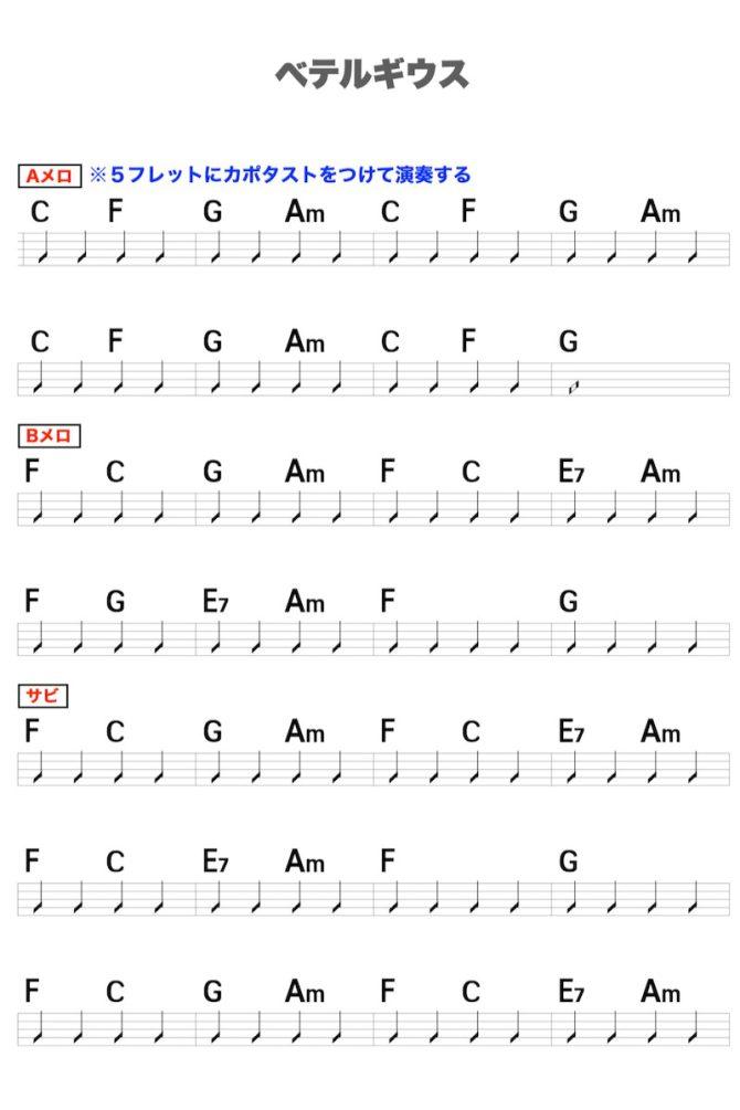 優里「ベテルギウス」のギターコード楽譜1
