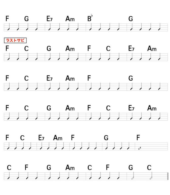 優里「ベテルギウス」のギターコード楽譜3