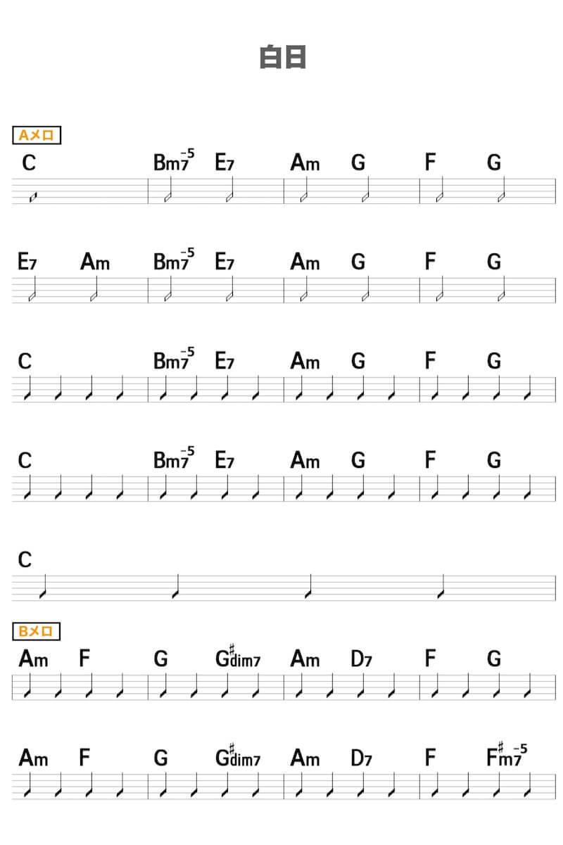 白日のギターコード楽譜1